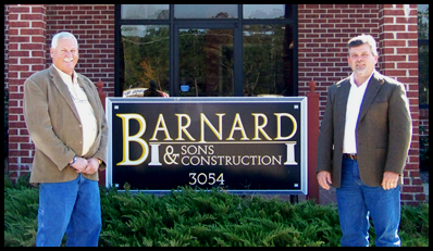 Buddy Barnard and William Chalk in front of Barnard and Sons office